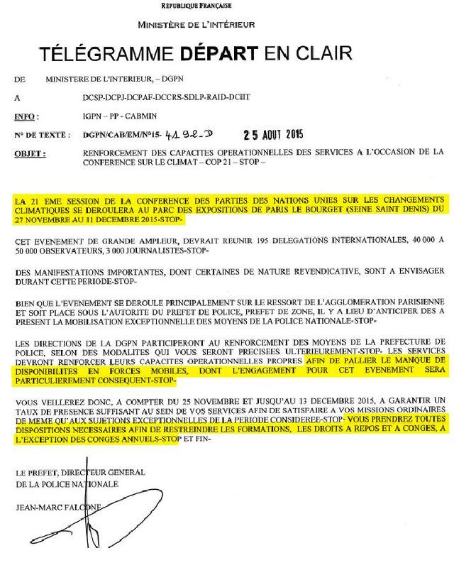 Note de la DGPN datée du 25 août 2015