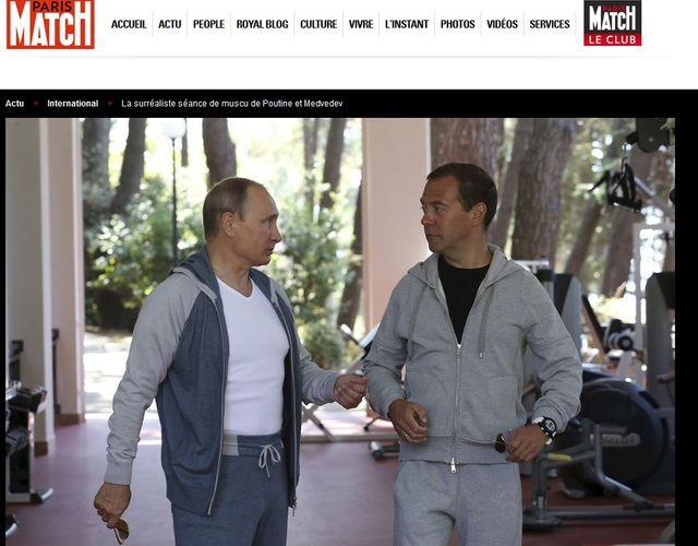 Poutine et Medvedev dans Paris Match