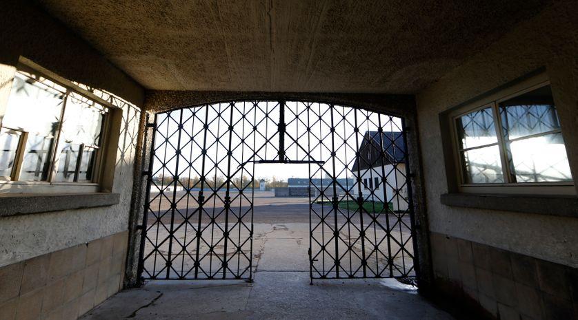 The main gate of the former concentration camp in Dachau near Munich.