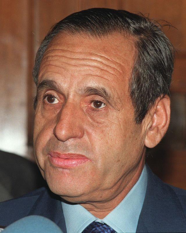 Driss Basri, ministre de l'Intérieur d'Hassan II, à Madrid en 1998