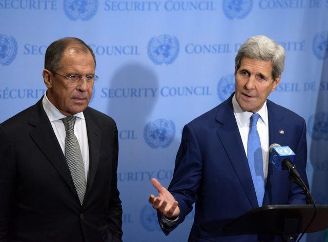 John Kerry et Sergueï Lavrov au siège de l'ONU fin septembre
