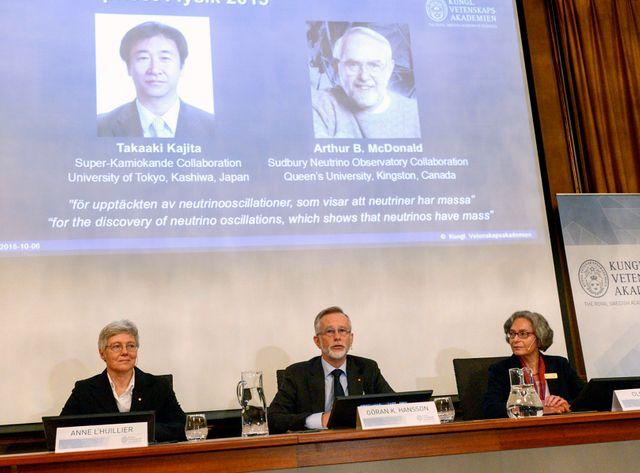 Le jury du prix Nobel a récompensé les deux hommes pour leurs travaux sur les neutrinos