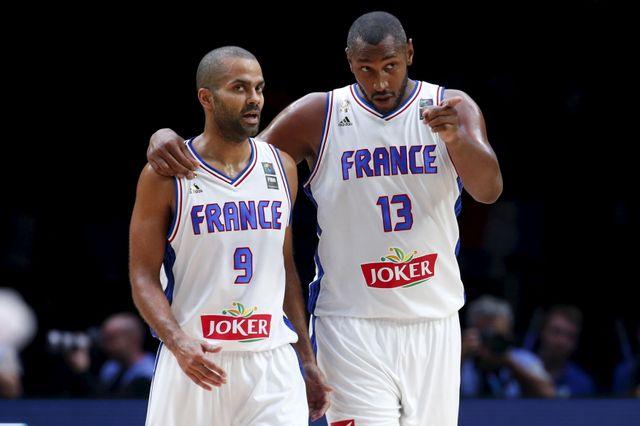 Tony Parker et Boris Diaw lors de l'EuroBasket 2015 en France
