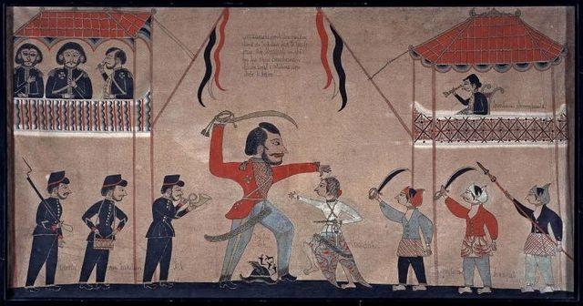 Untung Surapati tuant le capitaine Tack à Kartasura en 1684 - peinture javanaise vers 1890