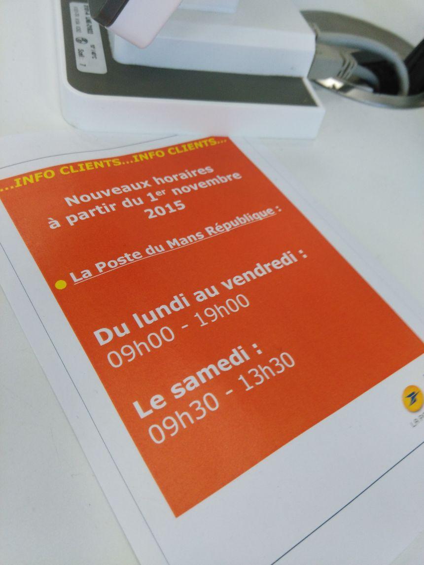 Changement d'horaires au bureau de poste Le Mans-République