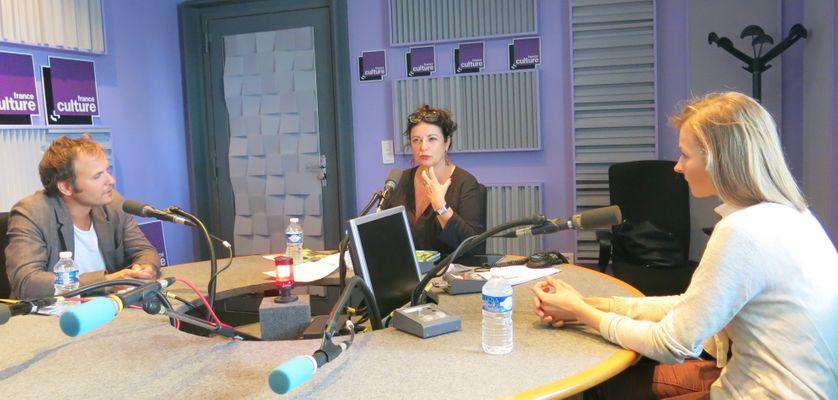 France Culture, studio 153, pendant l'émission... Timothée de Fombelle, Aline Pailler & Eloïse Scherrer