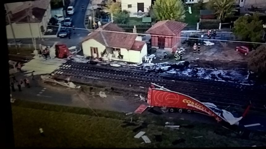 L'accident de Toulenne vu de l'hélicoptère des gendarmes de Gironde