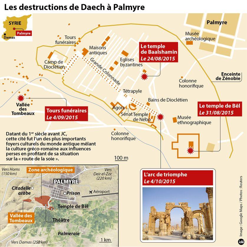 Les destructions de Daech à Palmyre