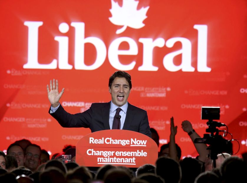 Liberal Party leader Justin Trudeau gives his victory speech after Canada's federal election in Montreal.