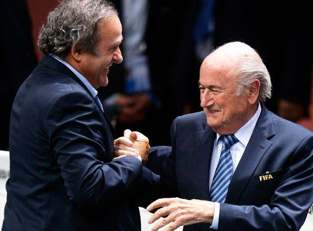 Blatter et Platini en mai 2015 lors de la réelection de Blatter
