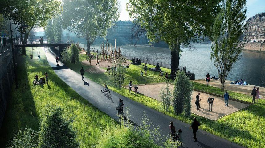 Projet de piétonnisation de la rive droite à Paris 2 © Luxigon
