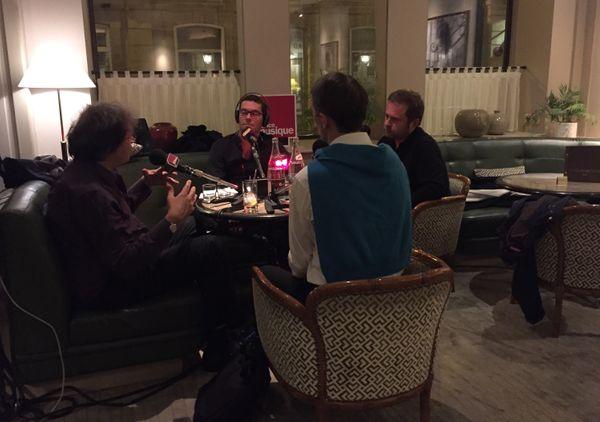 Lionel Esparza avec ses invités à l'hôtel Bedford : Thierry Escaich, Olivier Latry et Vincent Warnier