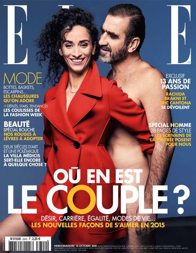 Une de Elle : Eric Cantona pose nu avec Rachida Brakni