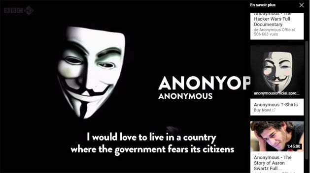 Anonymous : Capture d'écran YouTube