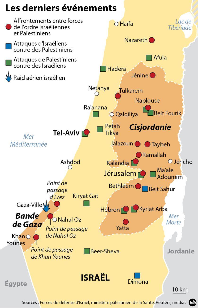 Israël-Palestine : les événements depuis le 1er octobre. Carte publiée le 19 octobre 2015
