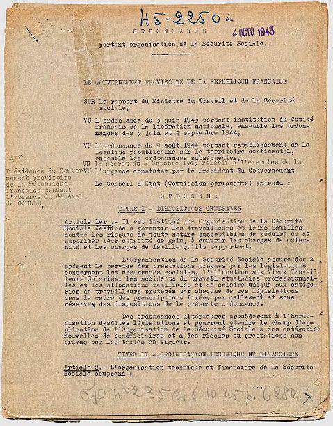 Ordonnance du 4 octobre 1945 relative à l'organisation de la Sécurité sociale