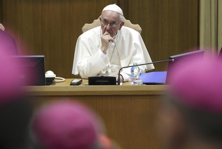 Le Pape François, lors du deuxième synode sur la famille