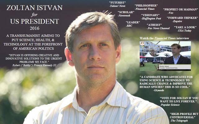 Capture d'écran du site de Zoltan Istvan, candidat à la présidentielle américaine de 2016