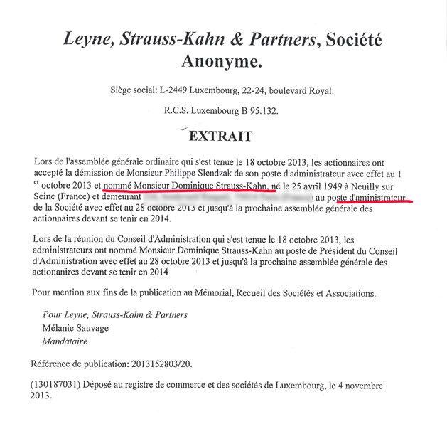 DSK nommé administrateur de LSK en octobre 2013