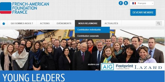 Page d'accueil du site Young Leaders, le programme d'échange de la French American Foundation