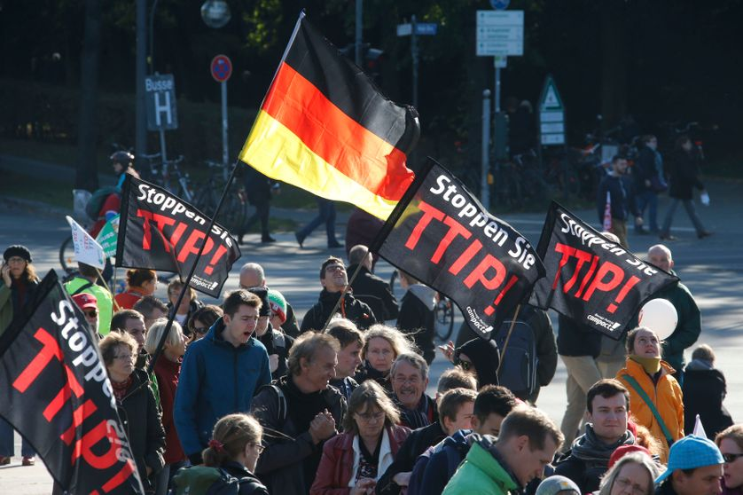 Consumer rights activists take part in a march to protest against the Transatlantic Trade and Investment Partnership in Berlin,