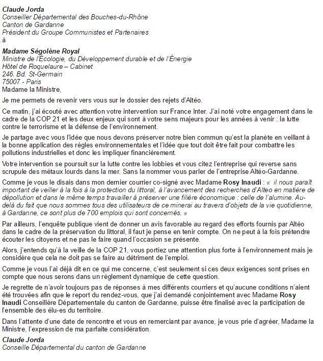 Le courrier de Claude Jorda à Ségolène Royal