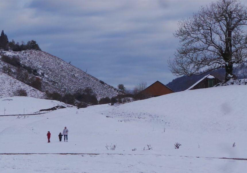 Le Plateau du Bénou enneigé ce dimanche midi