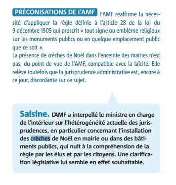 Extrait du vade-mecum sur la laïcité de l'association des maires de France