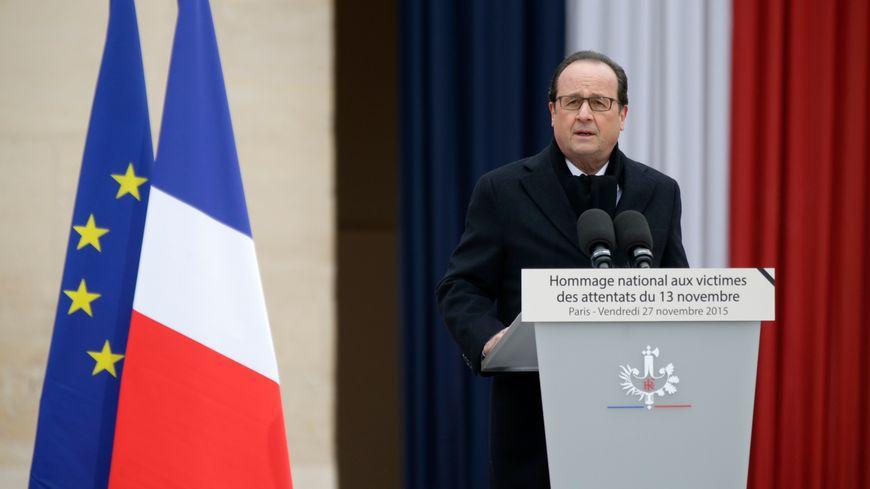 François Hollande lors de son discours d'hommage aux victimes.
