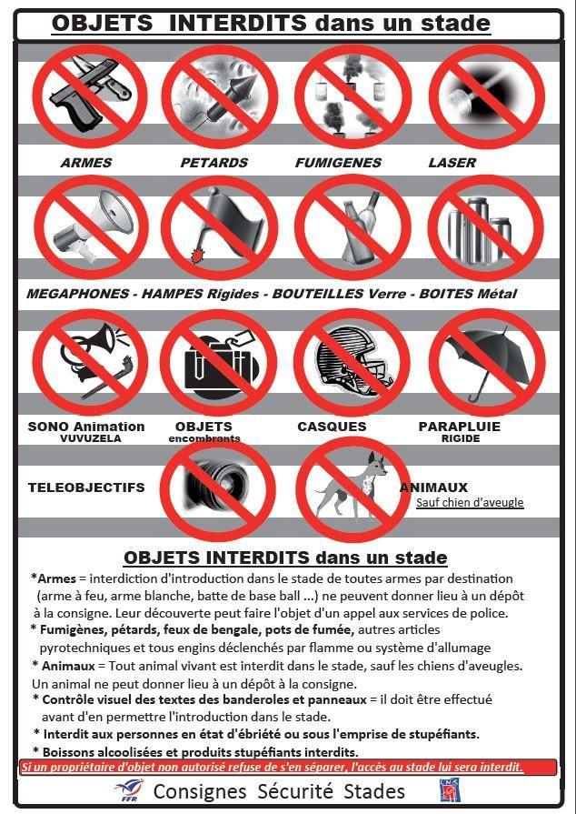 La liste des objets interdits au Stade des Alpes samedi soir