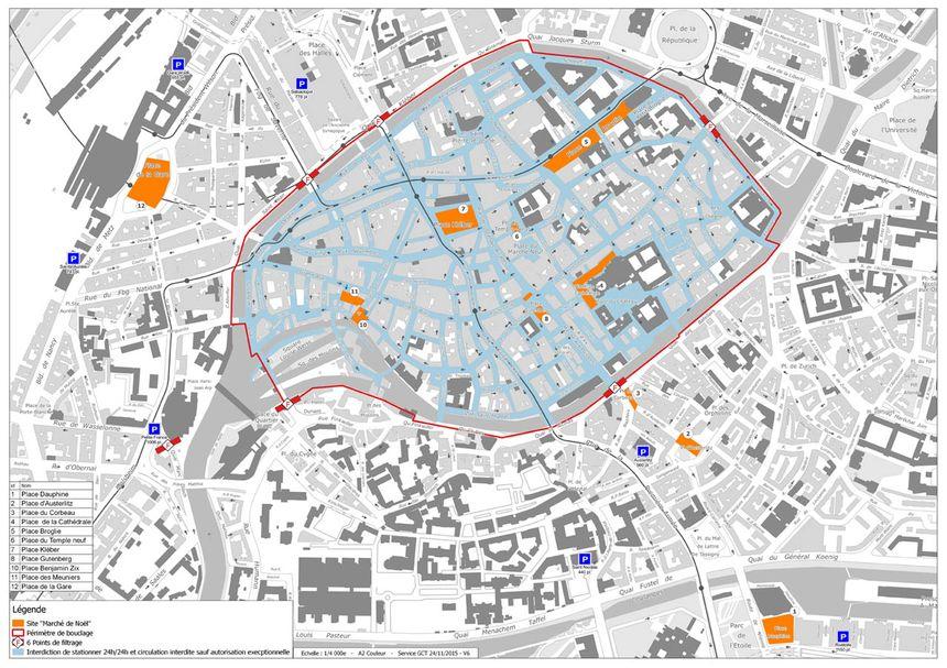 La plan d'accès au marché de Noël 2015 de Strasbourg