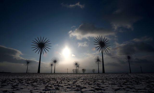 Les éoliennes au village allemand de Feldheim, 21 février 2013