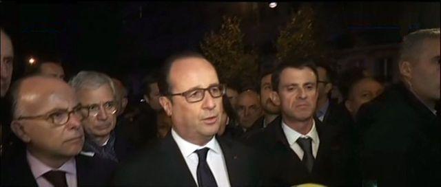 François Hollande, Bernard Cazeneuve et Manuel Valls au Bataclan