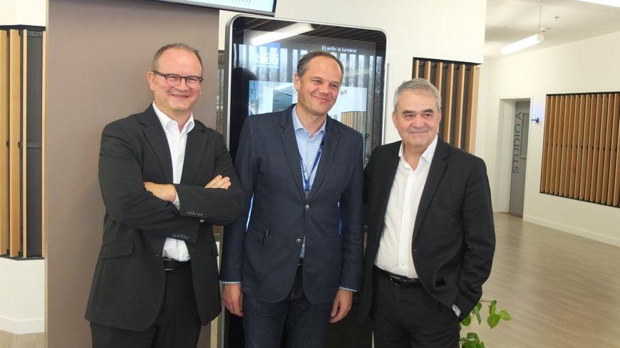 Bruno Leroy, Pierre Desaint et Claude Esclatine dans les nouveaux locaux