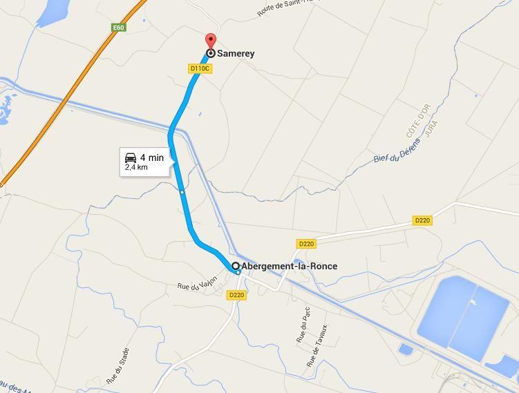 Deux kilomètres séparent les deux villages.