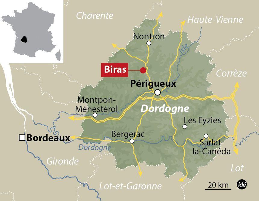 Localisation de la basse-cour touchée par le virus H5N1 en Dordogne