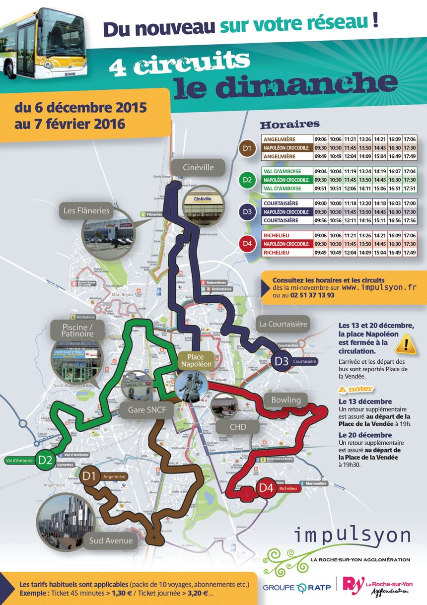 Le plan des 4 lignes de bus en service le dimanche à la Roche sur Yon