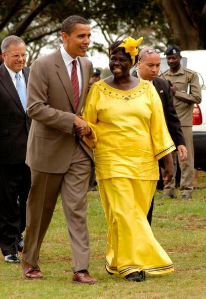 Wangari Maathai en 2006 avec le sénateur Barack Obama