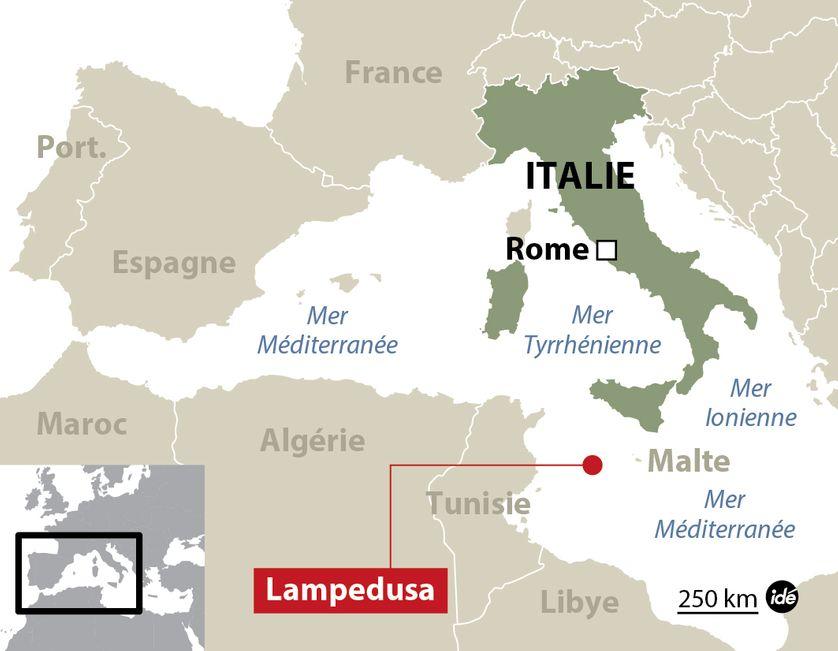 Carte de localisation de Lampedusa, en Italie