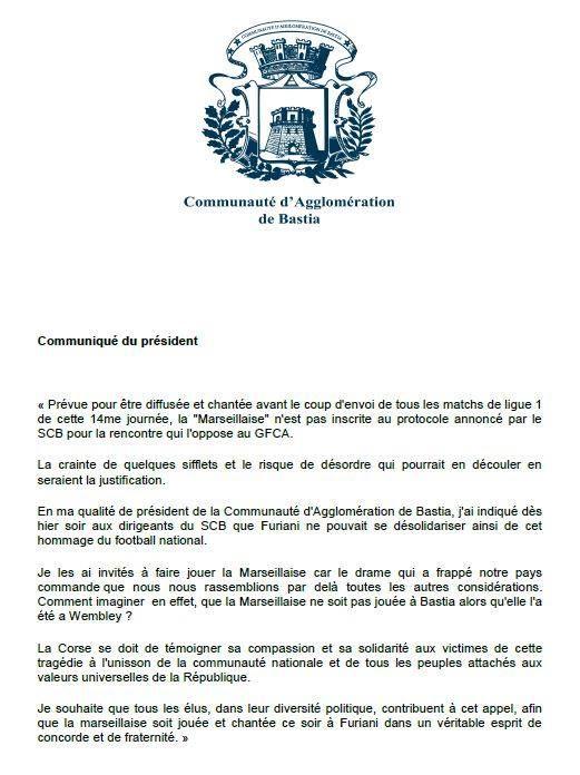 [COMMUNIQUE] Le Président de l'Agglo appelle à ce que la #Marseillaise soit joué