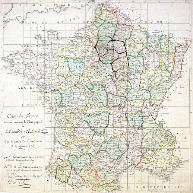 Carte de France divisée suivant le plan proposé à l'Assemblée nationale 29 septembre 1789 par L. Hennequin