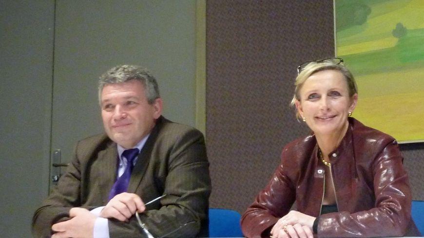Bruno Derly et Marie-Hélène Thoraval lors d'un point presse en décembre 2014.