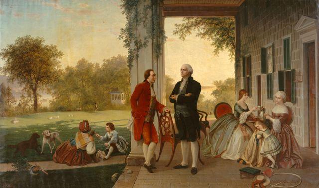 Rencontre entre La Fayette et Washington à Mount Vernon en 1784 - par T.P. Rossiter et L.R. Mignot