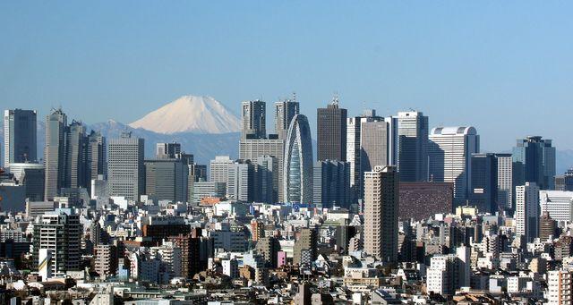 Centre ville de Tokyo et Mont Fuji