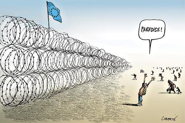 Chappatte, Les réfugiés et l'Europe, NYT Opinion, 15 sept. 2015