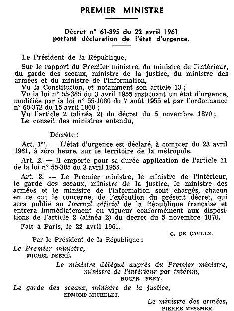 Décret sur l'état d'urgence du 22 avril 1961