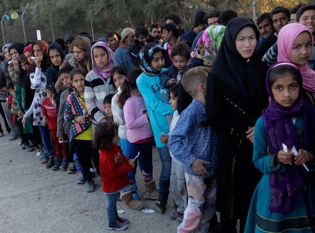 Des Syriens sur l'île de Lesbos