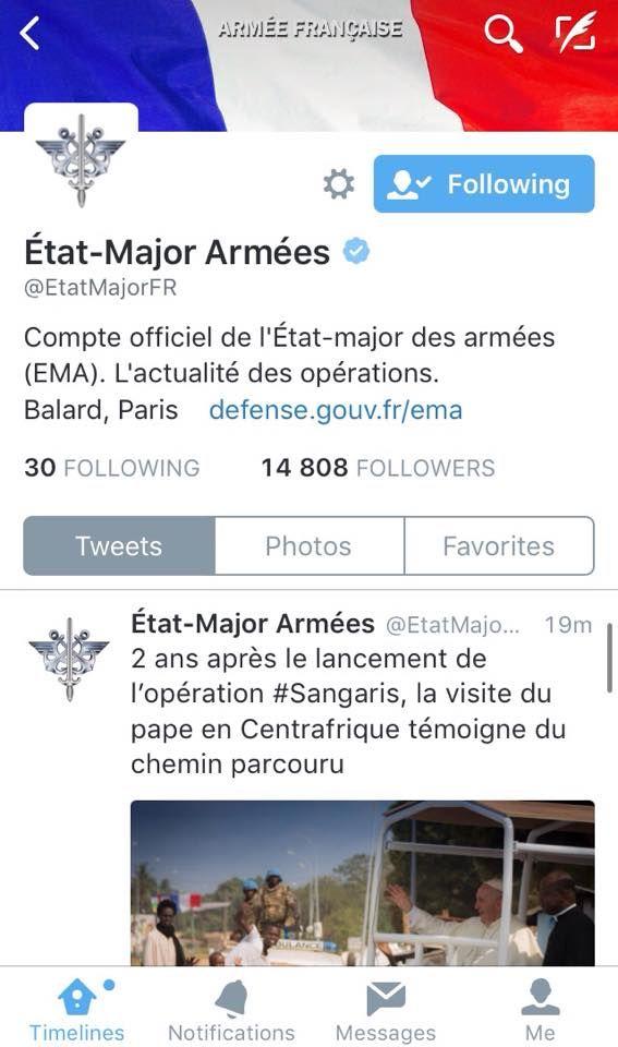 Capture d'écran - Twitter Etat-Major des Armées