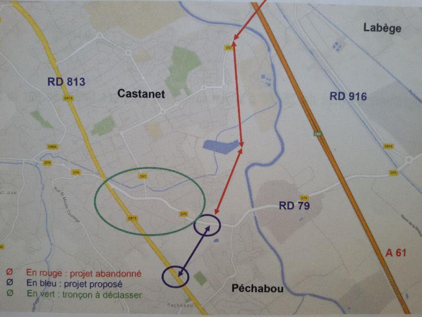 Le projet de déviation de Castanet (en bleu)