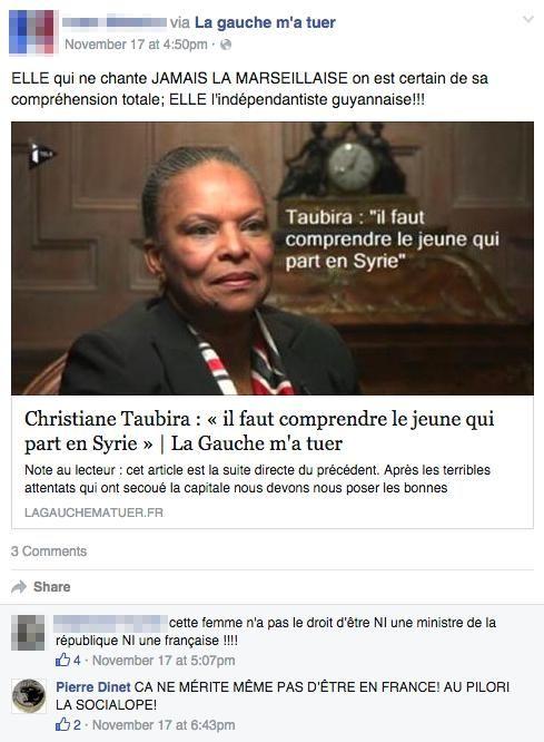 Le commentaire de Pierre Dinet visant Christiane Taubira sur Facebook.